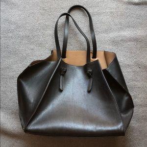 Zara black origami tote